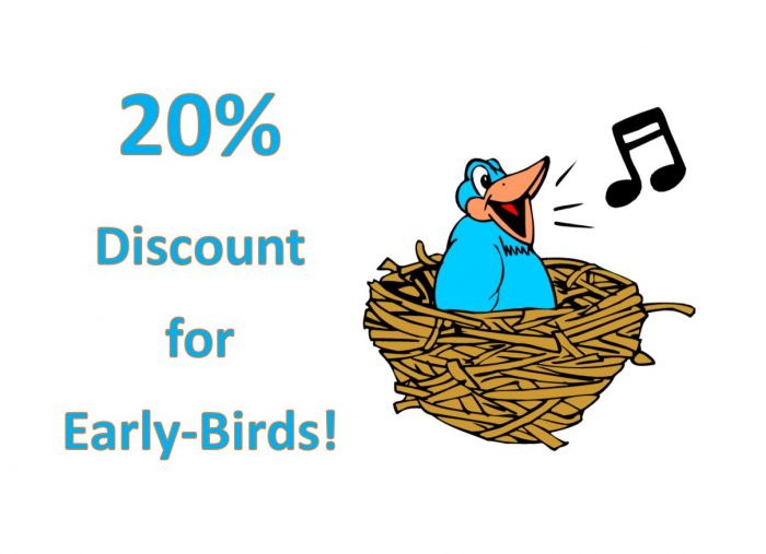 20% Early Bird Discounts